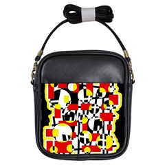 Red And Yellow Chaos Girls Sling Bags by Valentinaart