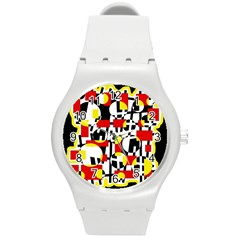 Red And Yellow Chaos Round Plastic Sport Watch (m) by Valentinaart