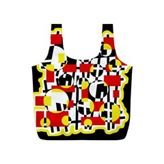 Red And Yellow Chaos Full Print Recycle Bags (s)  by Valentinaart
