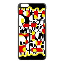 Red And Yellow Chaos Apple Iphone 6 Plus/6s Plus Black Enamel Case by Valentinaart