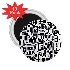 Black And White Abstract Chaos 2 25  Magnets (10 Pack)  by Valentinaart