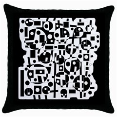 Black And White Abstract Chaos Throw Pillow Case (black) by Valentinaart