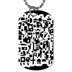 Black And White Abstract Chaos Dog Tag (one Side) by Valentinaart
