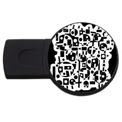 Black And White Abstract Chaos Usb Flash Drive Round (2 Gb)  by Valentinaart