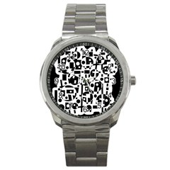 Black And White Abstract Chaos Sport Metal Watch by Valentinaart