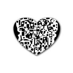 Black And White Abstract Chaos Rubber Coaster (heart)  by Valentinaart