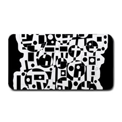 Black And White Abstract Chaos Medium Bar Mats by Valentinaart