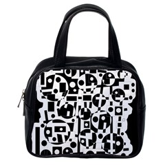Black And White Abstract Chaos Classic Handbags (one Side)