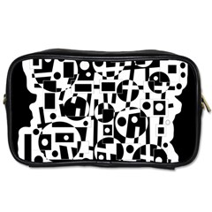 Black And White Abstract Chaos Toiletries Bags by Valentinaart