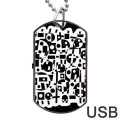 Black And White Abstract Chaos Dog Tag Usb Flash (one Side) by Valentinaart