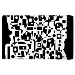 Black And White Abstract Chaos Apple Ipad 2 Flip Case by Valentinaart