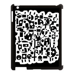 Black And White Abstract Chaos Apple Ipad 3/4 Case (black) by Valentinaart