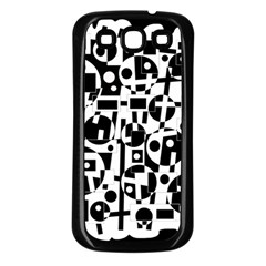 Black And White Abstract Chaos Samsung Galaxy S3 Back Case (black)