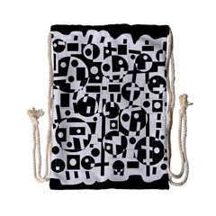 Black And White Abstract Chaos Drawstring Bag (small) by Valentinaart