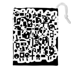 Black And White Abstract Chaos Drawstring Pouches (xxl) by Valentinaart