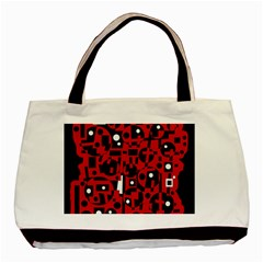 Red Basic Tote Bag by Valentinaart
