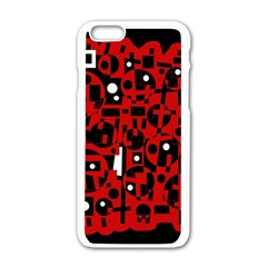 Red Apple Iphone 6/6s White Enamel Case by Valentinaart
