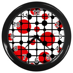 Red Circles Wall Clocks (black) by Valentinaart