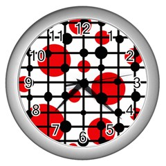Red Circles Wall Clocks (silver)  by Valentinaart
