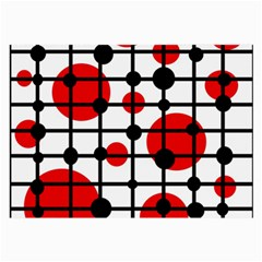Red Circles Large Glasses Cloth (2 Side) by Valentinaart