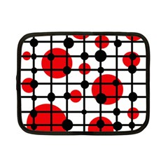 Red Circles Netbook Case (small)  by Valentinaart