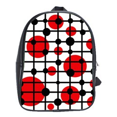 Red Circles School Bags(large)  by Valentinaart