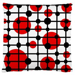 Red Circles Large Cushion Case (two Sides) by Valentinaart
