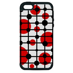 Red Circles Apple Iphone 5 Hardshell Case (pc+silicone) by Valentinaart