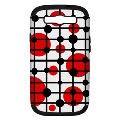 Red Circles Samsung Galaxy S Iii Hardshell Case (pc+silicone) by Valentinaart
