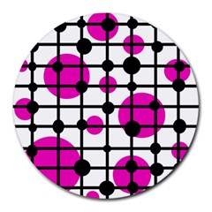Magenta Circles Round Mousepads by Valentinaart