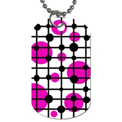 Magenta Circles Dog Tag (two Sides) by Valentinaart