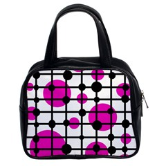 Magenta Circles Classic Handbags (2 Sides) by Valentinaart