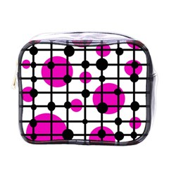 Magenta Circles Mini Toiletries Bags by Valentinaart