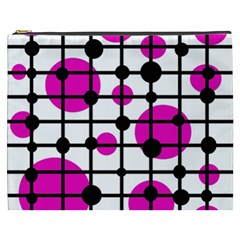 Magenta Circles Cosmetic Bag (xxxl)  by Valentinaart