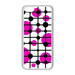 Magenta Circles Apple Iphone 5c Seamless Case (white) by Valentinaart