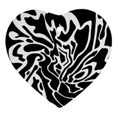 Black And White Decor Ornament (heart)  by Valentinaart