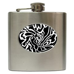 Black And White Decor Hip Flask (6 Oz) by Valentinaart