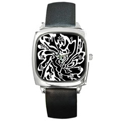 Black And White Decor Square Metal Watch by Valentinaart