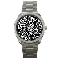 Black And White Decor Sport Metal Watch by Valentinaart