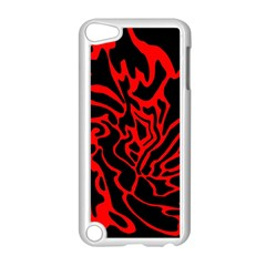 Red And Black Decor Apple Ipod Touch 5 Case (white) by Valentinaart