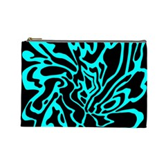 Cyan Decor Cosmetic Bag (large)  by Valentinaart