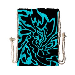 Cyan Decor Drawstring Bag (small) by Valentinaart