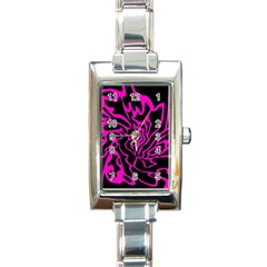 Magenta And Black Rectangle Italian Charm Watch by Valentinaart