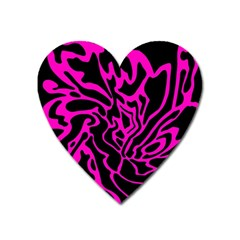 Magenta And Black Heart Magnet