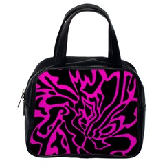 Magenta And Black Classic Handbags (one Side) by Valentinaart