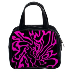 Magenta And Black Classic Handbags (2 Sides) by Valentinaart