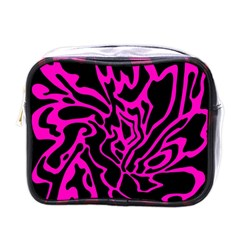 Magenta And Black Mini Toiletries Bags by Valentinaart