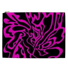 Magenta And Black Cosmetic Bag (xxl)  by Valentinaart