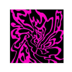 Magenta And Black Small Satin Scarf (square) by Valentinaart