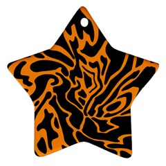 Orange And Black Ornament (star)  by Valentinaart